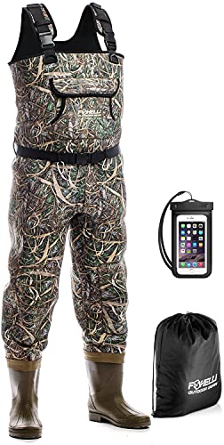 Foxelli Chest Waders – Camo Neoprene Hunting & Fishing Waders for Men & Women with Boots, Waterproof Bootfoot Waders with Belt, Carrying Bag Included