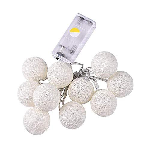Adore store Cubierta de Bolas de algodón Cadena Luces LED 10 LED Luces de Navidad lámpara de la Bola Cadena Luces Decoraciones de Halloween de algodón