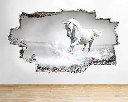 Pegatinas de pared caballo blanco y negro Pony niñas dormitorio calcomanía cartel 3D arte vinilo fondo pared cartel 50x70cm