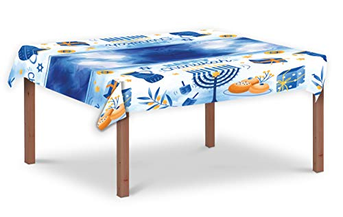 Hanukkah Tablecloth Plastic - Hanukkah Paper Goods - 55' x 92' - Blue and White Chanukah Themed Party Supplies (2-Pack)