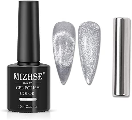 MIZHSE 10ml Universal Cat eye Gel Nail Polish Bright Silver UV Gel Nail Polish Glitter Nail product image