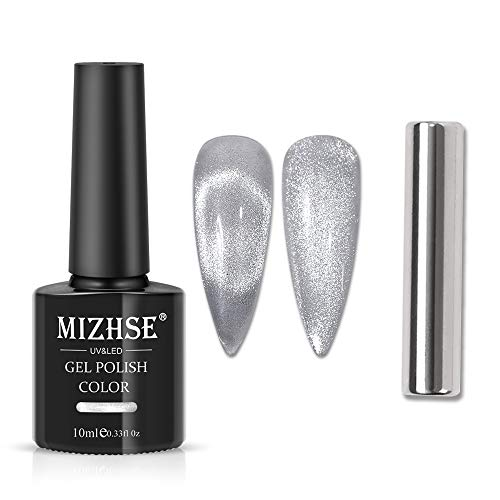 MIZHSE 10ml Universal Cat eye Gel Nail Polish Bright Silver UV Gel Nail Polish Glitter Nail Art Varnish with Magnetic