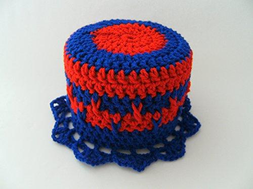 Storchenlädchen Klohut, blau rot Klohüte Klopapierhut Klopapierhüte Toilettenpapierhut Toilettenpapierhüte
