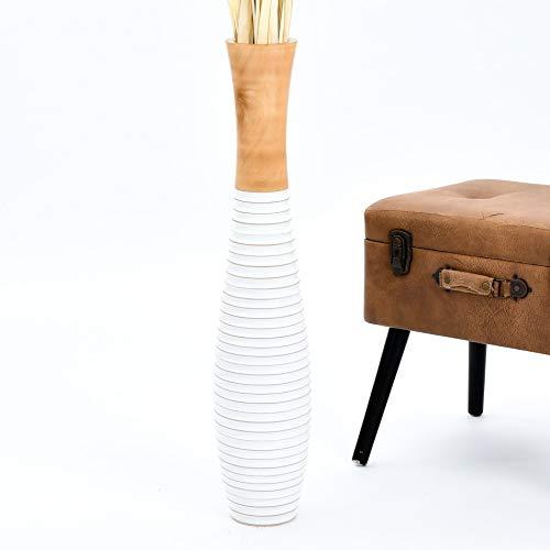 LEEWADEE jarrón Grande para el Suelo – Florero Alto y Hecho a Mano de Madera exótica, Recipiente de pie para Ramas Decorativas, 75 cm, Blanco Color Natural