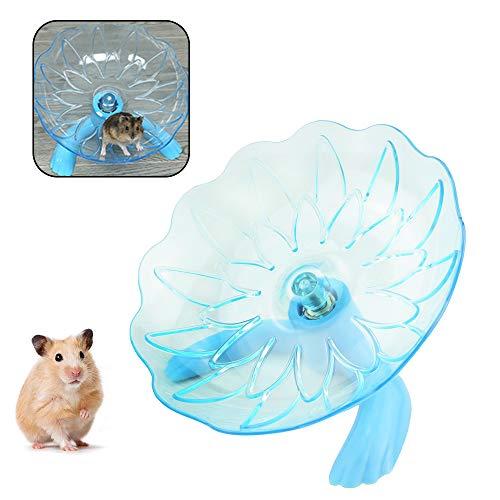 WishLotus Hamster Fliegende Untertasse, Hamster Laufrad Transparent Kunststoff Sportsrad, geeignet für kleine Haustiere wie Hamster, Meerschweinchen, Rennmäuse, Chinchillas (Blau)