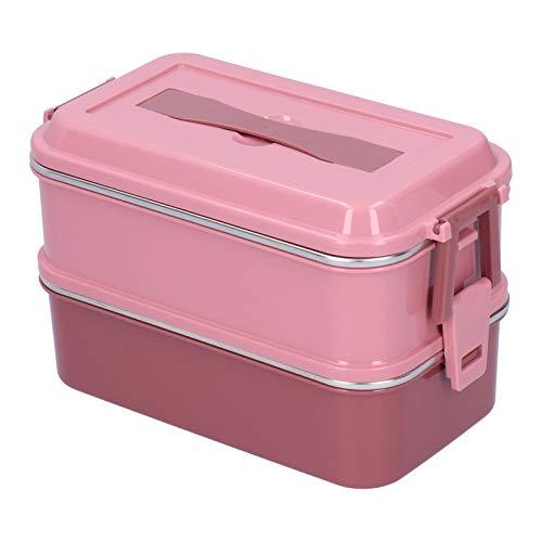 DAUERHAFT Fiambrera portátil Rosa con Hebilla Plegable Caja Bento aislada Diseño de Bloqueo de Seguridad para escuelas, restaurantes, visitas de(Sakura Pink Double Layer)