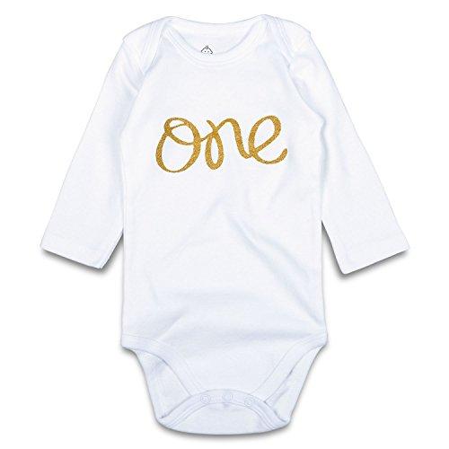 OPAWO Strampelanzug für Neugeborene, Jungen, Mädchen, mit glitzerndem Gold-Aufdruck, lange Ärmel, Strampler für Babyparty, Fotoshooting-Outfits Gr. 68, weiß