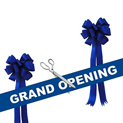 """Grand Opening Kit - 15"""" Chrome Plated Ceremonial Ribbon Cutting Scissors with 5 Yards of 6"""" Grand Opening Ribbon White Letters and 2 Bows"""