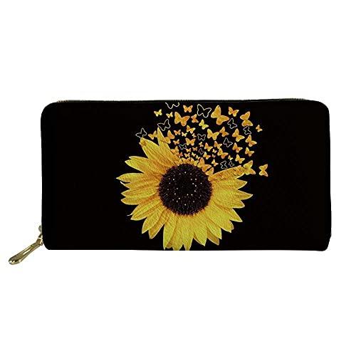 ANTSBOOM Carteras personalizadas de patrón largo para mujer, monederos, carteras de compras de moda casual, titulares de tarjetas multifunción de gran capacidad, regalos para mujeres, Girasol1,