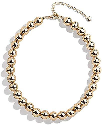 BACKZY MXJP Collar Collar Punk Hip Hop Big Beads Gargantilla Collar Boho Color Dorado Collar De Eslabones Gruesos Cubanos para Mujeres Collar Joyas para Mujeres Hombres Regalo Collar