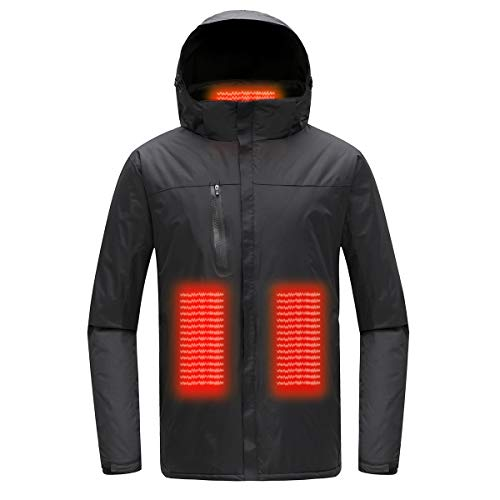 Mount Marter Heated Jackets for Men, USB Waterproof Black ski Jackets with Three Heating Modes