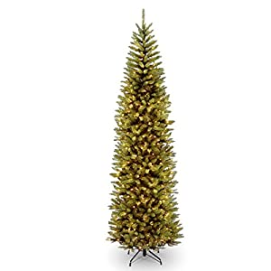 National Tree Company lit Artificial Christmas Tree Includes Pre-strung White Lights and Stand, Kingswood Fir Slim – 9 ft, 9 ft, 9 ft