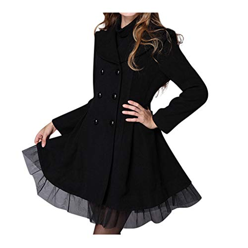 Trench Coats Women Stylish Lapel Double Breasted Draped Faux Suede Tulle Lace Pea Coat Ladies Casual Windbreaker Black