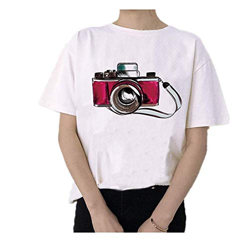 Damen T-Shirt mit Kamera-Motiv, Aquarell-Blumen, Vintage-Stil, Weiß Gr. M, 110951