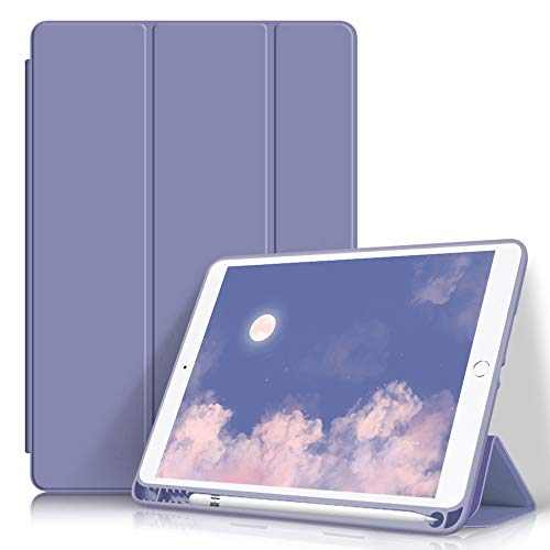 Aoub Case for iPad 9.7 Inch 2017/2018,with Pencil Holder, Lightweight Slim Protective Case,Soft TPU Back Cover with Auto Wake/Sleep,Tri-fold Stand, (ipad5/ipad6) case (Purple)