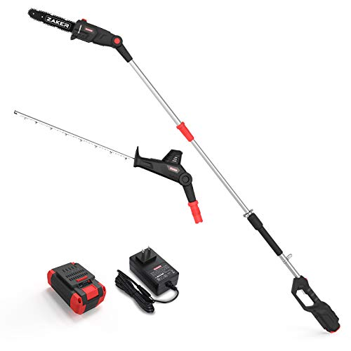 """ZAKER 40v 21.3"""" Pole Hedge Trimmer Cordless with 9.5 Inch Chain Saw Attachment, Steel Blade, 2-in-1 Hedge Trimmer & Pole Saw, Power Hedge Trimmer Extension Pole with 4AH Lithium-ion Battery & Charger"""