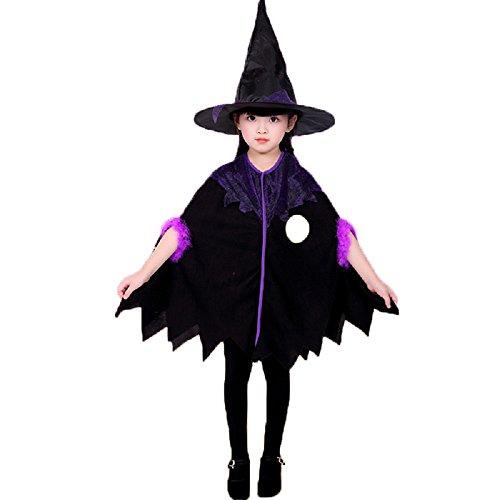 MAKFORT Mädchen Hexe kostüm Umhang und Hexenhut für Kinder Halloween Karneval Fasching 120-130cm