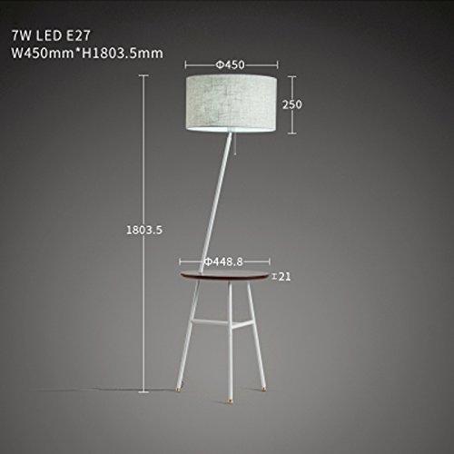 LXSEHN LED De Lin Pays Américain Simple Chambre Salon Tissu Canapé Lampadaire Table Basse De Table Lumière (Couleur : Blanc-Warm light/E27*LED*7W)
