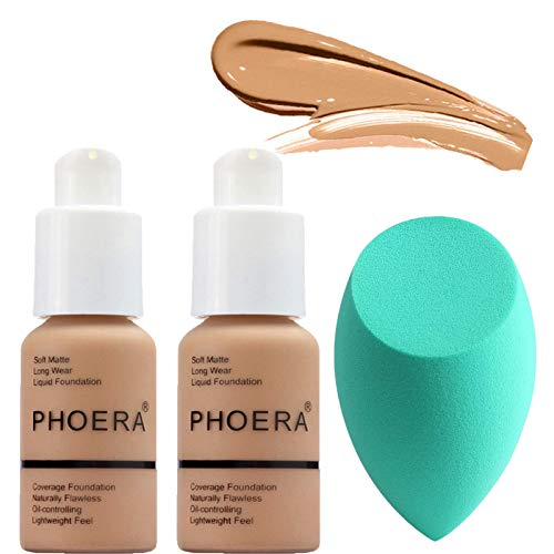 2PC Matte Control Concealer Foundation, PHOERA 30ml Long Lasting Matte Liquid Foundation(Free makeup egg) (#104)