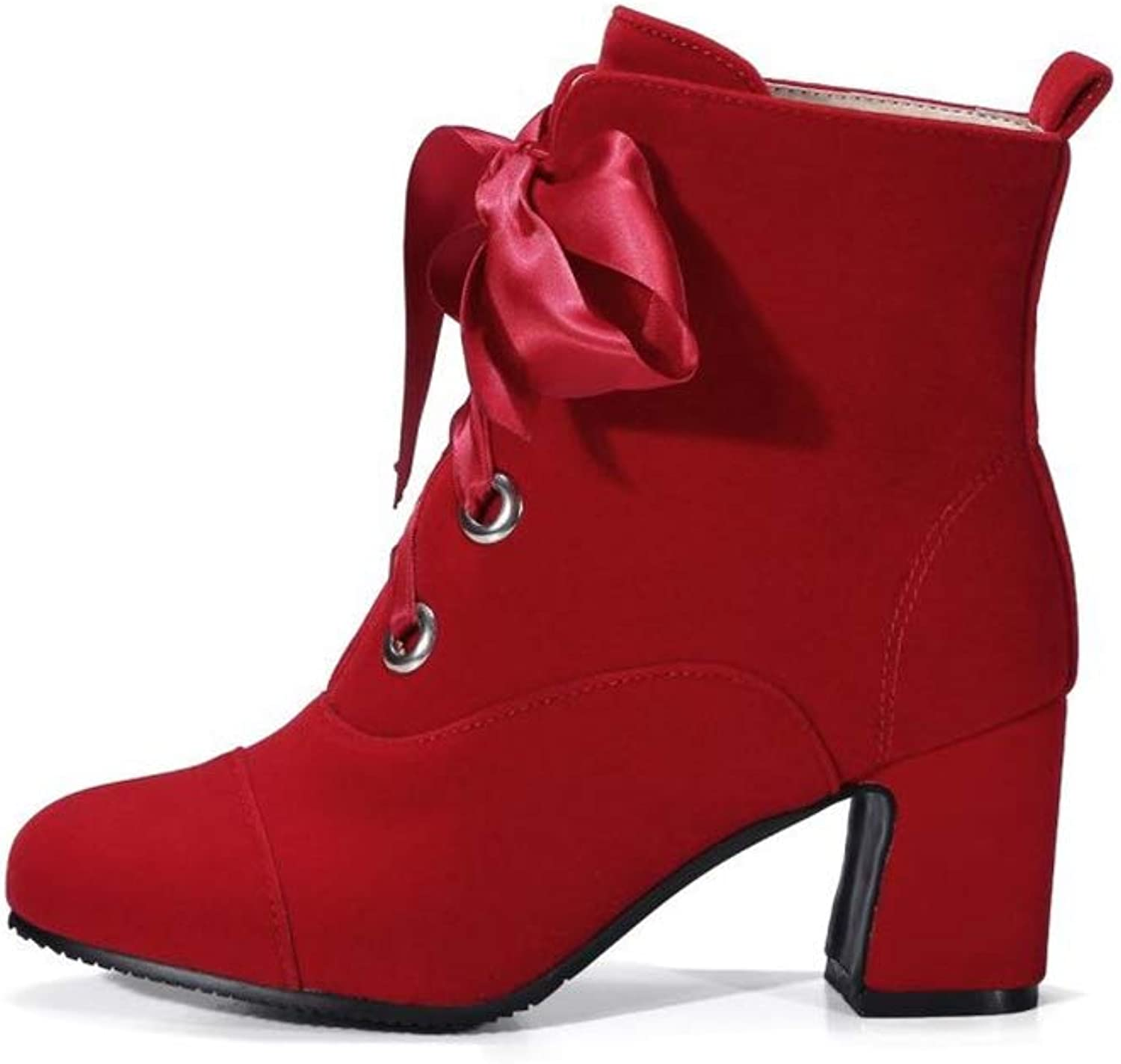 SUNNY Store Women's Winter Comfort Stacked Chunky Heel Ankle Booties