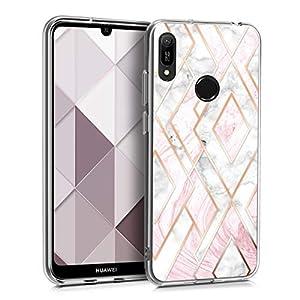 kwmobile Hülle kompatibel mit Huawei Y6 (2019) - Handyhülle Silikon Case - Glory Mix Marmor Rosegold Weiß Altrosa