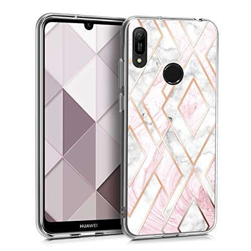kwmobile Hulle kompatibel mit Huawei Y6 2019 Handyhulle Handy Case Glory Mix Marmor Rosegold Weis Altrosa