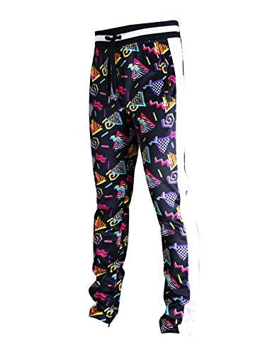 SCREENSHOT-P11904 Mens Hip Hop Premium Slim Fit Track Pants - Athletic Jogger 80's Retro Pattern Print Streetwear Bottoms-Black/Pop-Medium