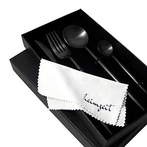 heimzeit Besteck Set aus hochwertigem Edelstahl 18/10 - Farbe: Schwarz - Stilvolles Design - 1 Person - 4-teilig (Messer, Gabel, Esslöffel, Teelöffel) - Schwarzes Besteck ist spülmaschinengeeignet