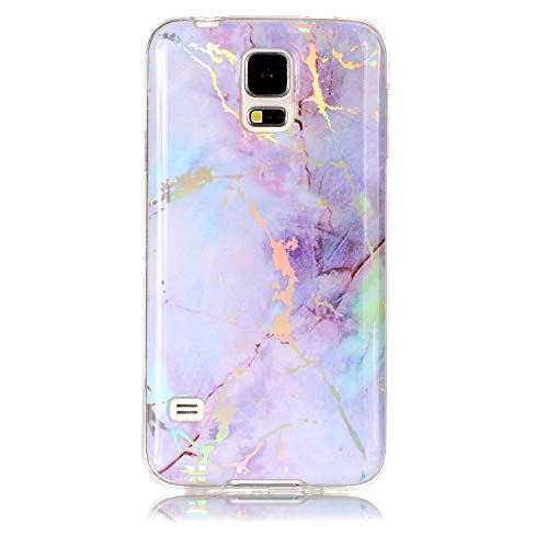 Lomogo Samsung Galaxy S5 Hülle Silikon Marmor, Schutzhülle Stoßfest Kratzfest Handyhülle Case mit Marmormuster für Samsung Galaxy S5 - LOYHU20068 Violett