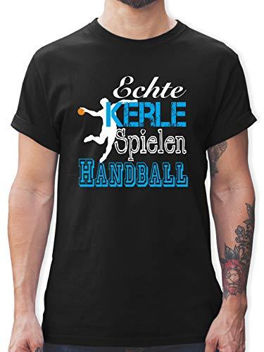 Handball - Echte Kerle Spielen Handball weiß - L - Schwarz - Tshirt Handball sprüche - L190 - Tshirt Herren und Männer T-Shirts