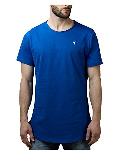 PHINOMEN Herren T-Shirt Oversize Cutted Neck Shirt - Blue - Gr. M