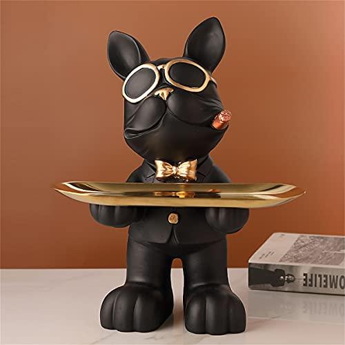 LODR Escultura De Resina De Bulldog Bandeja Bandeja De Pendientes De Joyería De Caramelo Clave Decorativa Figura De Estatua De Perro Genial Decoración del Hogar Adorno De Arte De Escritorio,Negro
