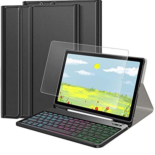 IVSOTEC Funda con Teclado Español Ñ para Samsung Galaxy Tab S6 Lite 10.4' 2020,con 7 Colores Retroiluminación Bluetooth y Protector de Pantalla, Extraíble Teclado para Tab S6 Lite SM-P610/P615,Negro