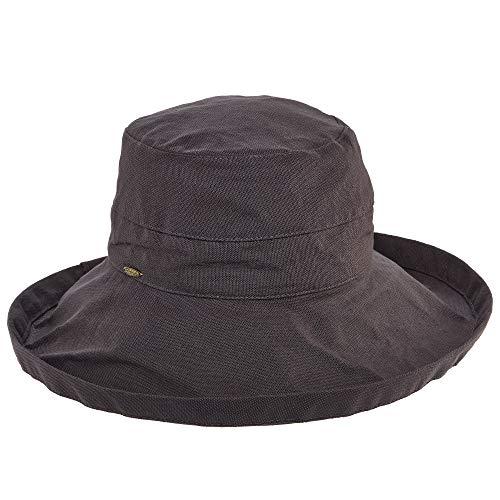 SCALA Damen-Hut aus Baumwolle, große Krempe, mit Kordelzug innen, UPF 50+ - grau - Einheitsgröße