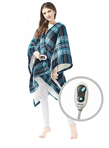 Beautyrest - Soft Sherpa Heated Blanket Wrap - Plaid Pattern - 50' x 64' - Aqua - with 3-Setting...