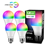 LE Lampadina LED Intelligente WiFi E27 Alexa, 8.5W (=60W), RGB + Bianco Dimmerabile (2700K-6500K),...