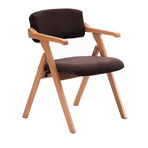 Chaise pliante en bois massif Chaise de salle à manger Fauteuil Accueil Restaurant Bureau Balcon Chaise Réunion Loisirs Chaise/Cuir marron/Charge maximale 200KG
