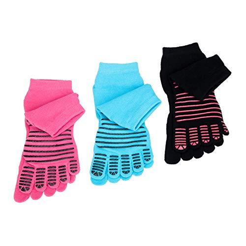 FULLANT 3 Paar Damen Yoga Socken Baumwolle rutschfeste Zehensocken für Pilates, Barre, Ballett, Tanz, 3 Paar (Schwarz, Blau, Hotpink)