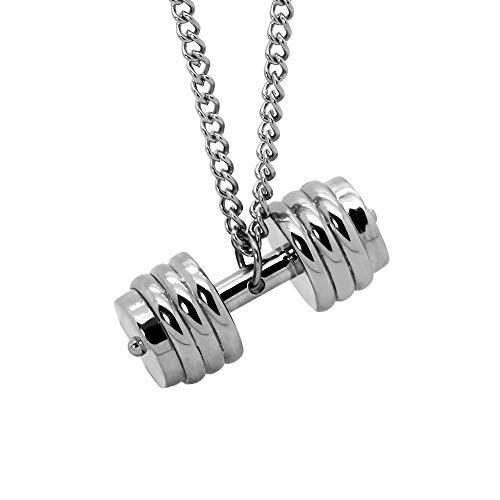 tumundo Halskette mit Anhänger Edelstahl Ketten-Anhänger Hantel Gewicht Sport Fitness Bodybuilding Panzerkette Silber, Farbe:Modell 3-50cm