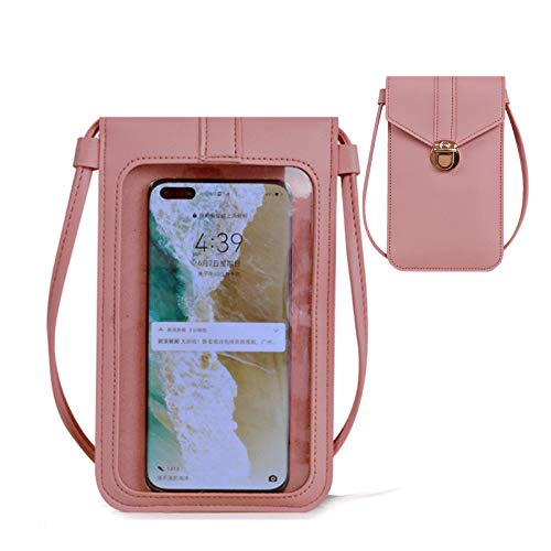 Mobile Phone Bag, Women Leather Touchable Phone Bag, Clear Window Touch Screen Crossbody Leather Bag with Card Slot Multifunctional Phone Pouch Bag (Pink)