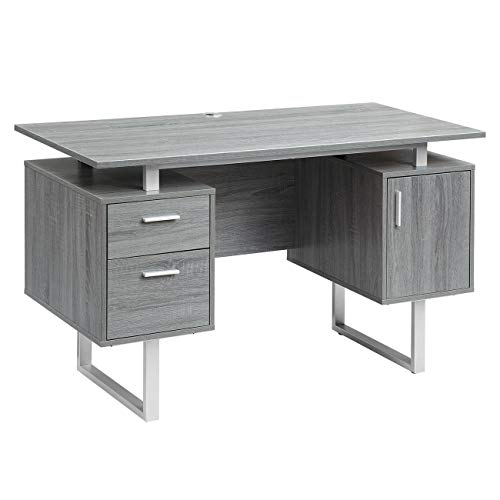 Techni Mobili Modern Office Desk with Storage, Gray