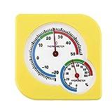 WS-A7 Mechanisches Hygrometer für den Innen- und Außenbereich, Mini-Hygrometer, Feuchtthermometer, Thermometer, Messwerkzeug für die Temperaturmessung, Gelb -