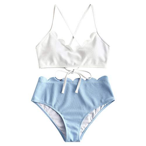 ZAFUL Damen Lace-up Floral High Waisted Bikini Set Badeanzug (Weiß-3, M)