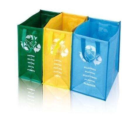 Mülltrenner oder Recycling Säcke mit drei Farbunterteilungen sowie Beschriftungen für Glas, Papier und Plastik - eine saubere Lösung