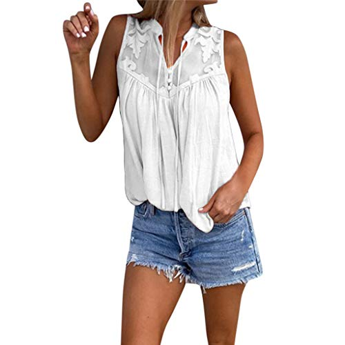 Longra Tops Chiffonblusen Ärmelloses Hemd aus Chiffon-Nähen Damen Schluppenbluse Sommerbluse Chiffon Blusentop Damen Chiffon Bluse V-Ausschnitt Henley Shirt Casual Damen Top My Soft Long Tank