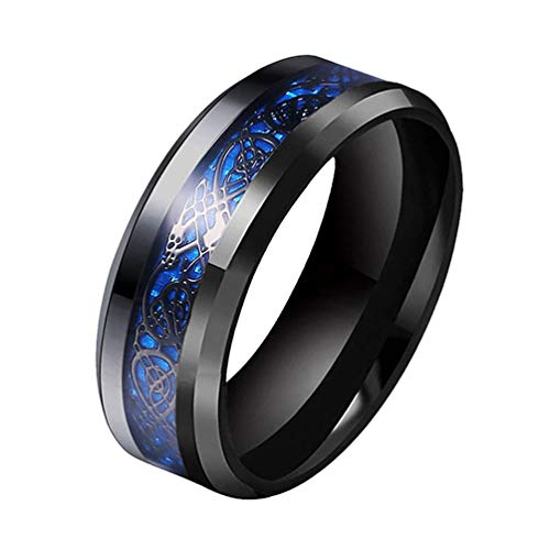 TTVOVO Men's 8MM Blue Carbon Fiber Black Celtic Dragon Ring for Men Boys Dragon Pattern Beveled Edges Celtic Dragon Rings Stainless Steel Wedding Bands High Polish Jewelry Gifts Comfort Fit US Size 10