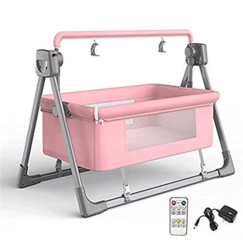 YQLWX Cuna mecedora eléctrica para bebé, mecedora mecedora, mecedora automática para cuna, control remoto de música, canasta de dormir, color caqui (color: verde) (color: rosa)