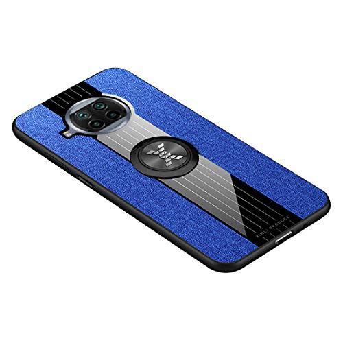 GOGME Funda para Xiaomi Mi 10T Lite 5G Carcasa, Anillo de 360 Grados de Metal [Estilismo de Tela de Lona Tejida] con Marco de Silicona Suave TPU Protección contra Caídas. Azul
