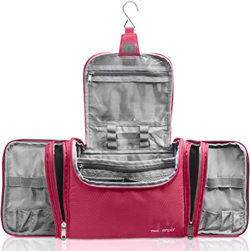 TRAVANDO ® XXL borsa della toilette signore grandi da appendere'Maxi' - 8,8 volume litro - borsa cosmetica con molti scomparti - borsa della toilette - beauty case borsa della toilette grande (Rosso)