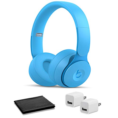 Beats Solo Pro Wireless On-Ear Headphones- Light Blue with USB Adapter Cubes